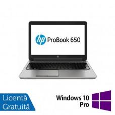 Laptop Refurbished HP ProBook 650 G1, Intel Core i3-4000M 2.40GHz, 4GB DDR3, 500GB SATA, DVD-RW, 15.6 inch + Windows 10 Pro